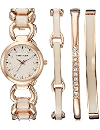 Women's AK/1952RGST Swarovski Crystal Accented Rose Gold-Tone and Blush Pink Watch and Bracelet Set