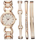 Anne Klein Women's AK/1952RGST Swarovski Crystal Accented Rose Gold-Tone and Blush Pink Watch and Bracelet Set