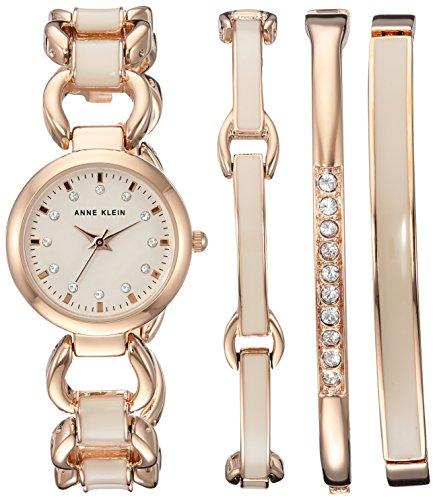 - Anne Klein Women's AK/1952RGST Swarovski Crystal Accented Rose Gold-Tone and Blush Pink Watch and Bracelet Set