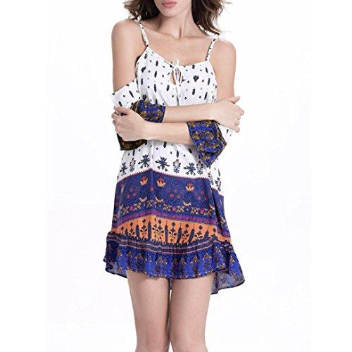 Bekleidung Longra Damen Sommerkleid Retro National Wind Kleid Sling Aus Schulter Kurzarm Kleid Strandkleid Blue