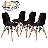 LCH 17.8 Inch Height Modern Dining Chairs - Mid Century Eames Style Chairs - Sturdy Wooden Legs Chairs, 300 lbs Capacity, Upgraded Base, Black, Set of 4