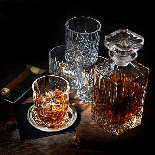ELIDOMC 5PC Italian Crafted Crystal Whiskey Decanter & Whiskey Glasses Set, Crystal Decanter Set With 4 Whiskey Glasses, 100% Lead Free Whiskey Glass Set by E (Image #4)