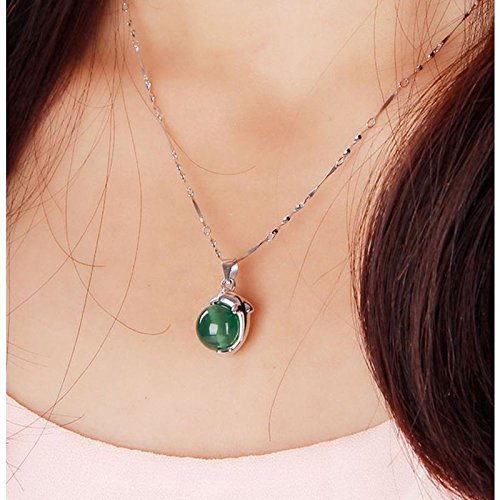 Generic 2018 _Bohemian_ sterling silver pendants women girl _dolphin_ Natural jade _inlaid_ jade _chalcedony_ Beads _transit_ clavicle necklace pendant accessories (Dolphin Jade Pendant)