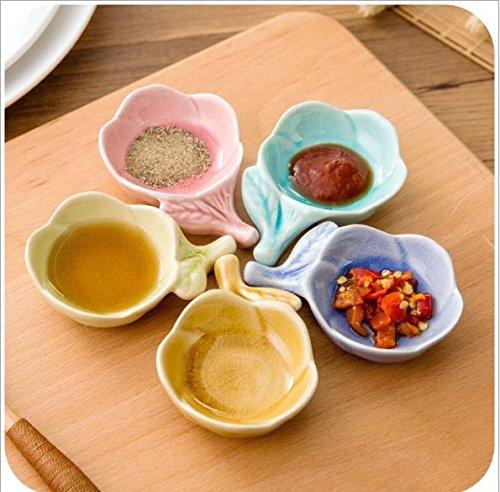 (Stock Show 5Pcs Multipurpose Ceramic Seasoning Dishes Appetizer Plates, Multicolor Plum Floral Pattern Porcelain Chopsticks Rack Saucers Bowl Set for Vinegar/Salad Soy Sauce/Wasabi)