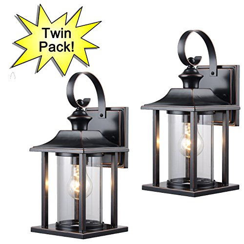 Designers Impressions 73479 13-1/4-by-6-Inch Aluminum Outdoor Light Fixtures, Oil Rubbed Bronze - Twin (Antique Bronze Outdoor Post Light)