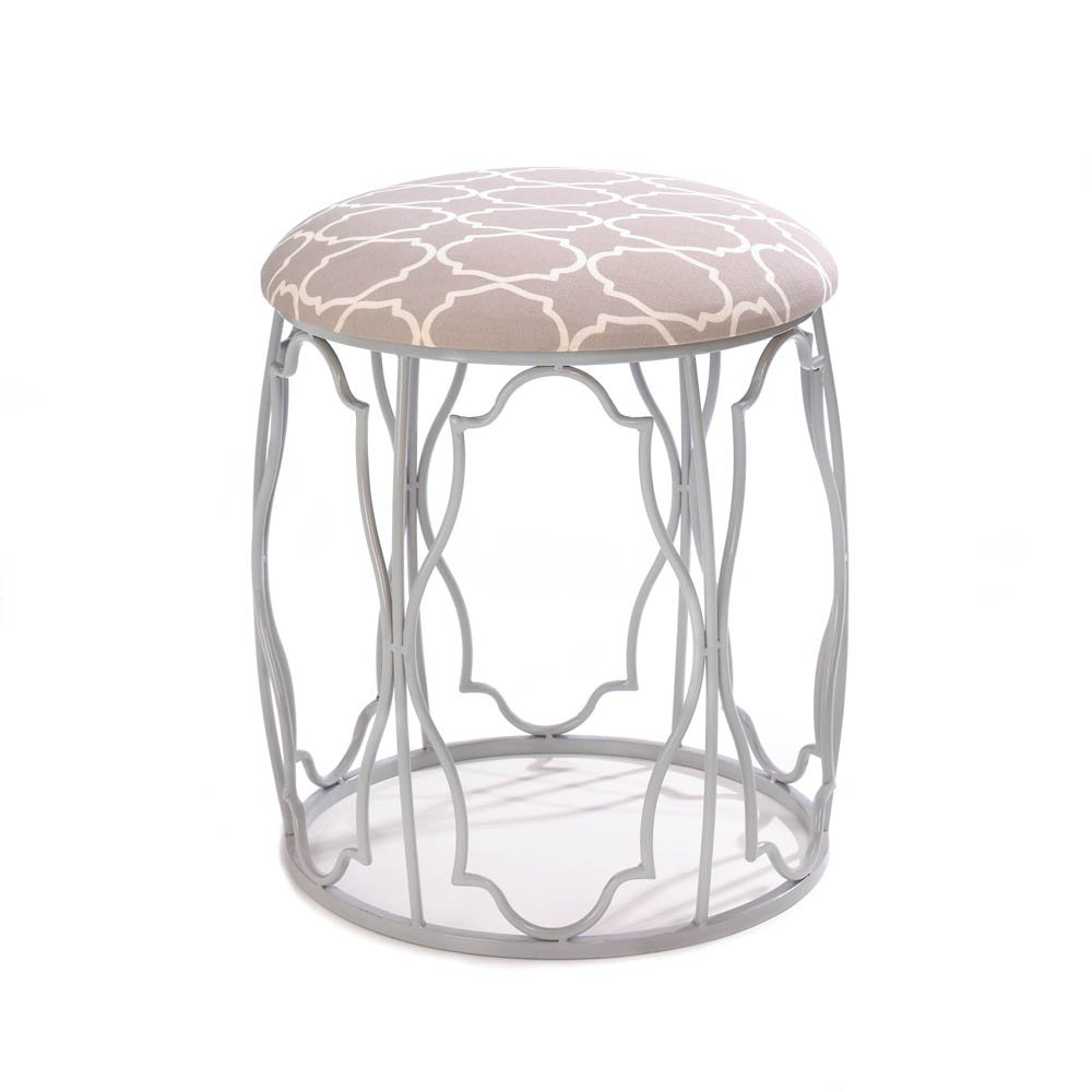 Morroccan-Style Stool with Metal Frame
