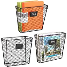 Set of 3 Wall Mounted Rustic Black Metal Wire Mail Sorter/Magazine Rack w/Erasable Chalkboard Labels