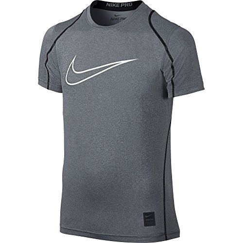 NIKE Boys' Pro Fitted HBR Short Sleeve Shirt, Carbon Heather/Black/White, Large