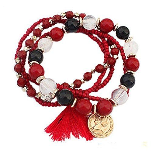 Girl Stylish Bohemian Multilayer Mixed Acrylic Beads Rhinestone Elastic Bracelet LOVE STORY (Red)