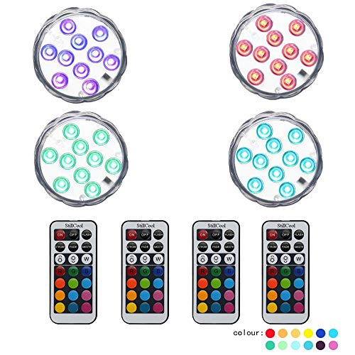 StillCool Submersible LED Lights, Waterproof Multi Color Underwater Lights Remote Battery Operated LED Decorative Lights Lighting Up Vase,Fish Tank,Wedding,Halloween,Christmas (12Pack) by StillCool (Image #6)