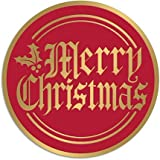 50Pack Red and Gold Merry Christmas Envelope Stickers Seals