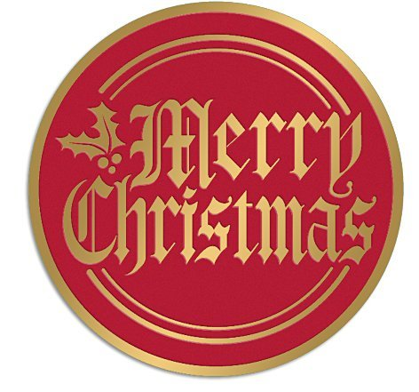 Bundleofbeauty Item#4590 Bridgt and Vivid 50pack Red and Gold Merry Christmas Envelope Stickers Seals Christmas Stickers