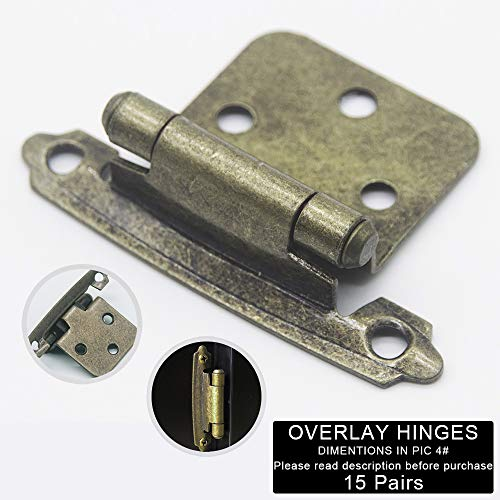 Silver Moon Hardware Overlay Cabinet Hinges, for Kitchen Cabinets, for Bathroom Cabinets, Variable, Self Closing, (15 Pairs Antique Brass)