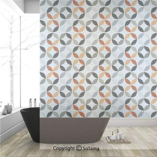 3D Decorative Privacy Window Films,Dimensional Ring Forms Artful Series Tones Hispter Boho Decor Image,No-Glue Self Static Cling Glass Film for Home Bedroom Bathroom Kitchen Office 36x48 - Series Pane Vinyl Double