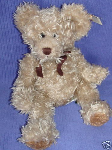 """Vintage Russ Berrie & Co. Large 16"""" Radcliffe Tan with Brown Bow Shaggy Teddy Bear"""