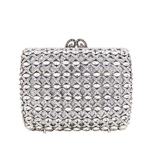 Bolsa De Embrague De Gama Alta Bolso De Noche De Lujo Del Diamante De Las Mujeres Silver