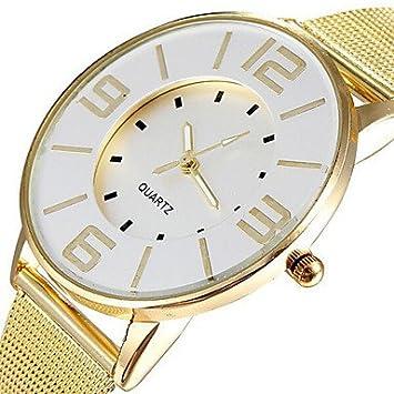 Reloj de la moda banda de malla de acero populares oro mujeres de lujo relojes de