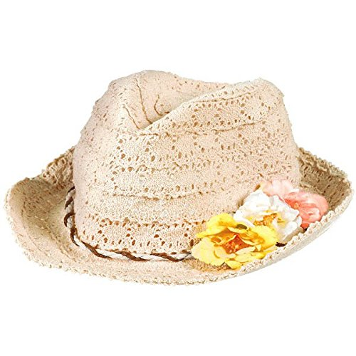 Hawaiian Costume Accessories (Oasis Eyelet Hat with Floral Hatband Hawaiian Summer Luau Costume Dress Up Party Headwear, Fabric, 4