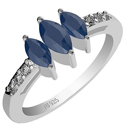 1.20ct, Genuine Sapphire 3x6mm Marquise & Solid .925 Sterling Silver Ring ()