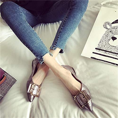 Individuales La De Moda Boca Hebilla Puntiagudos Zapatos Color Mujer Planos Zapatillas Salvaje Mocasines Baja Pistola pOqw77