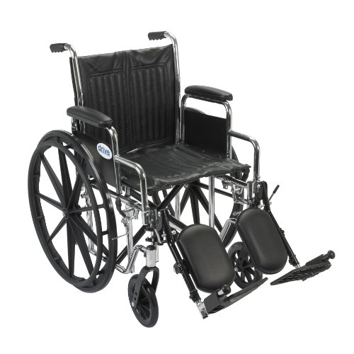 (Drive Medical Chrome Sport Wheelchair with Various Arm Styles and Front Rigging Options, Black and Chrome, 18 Inch)