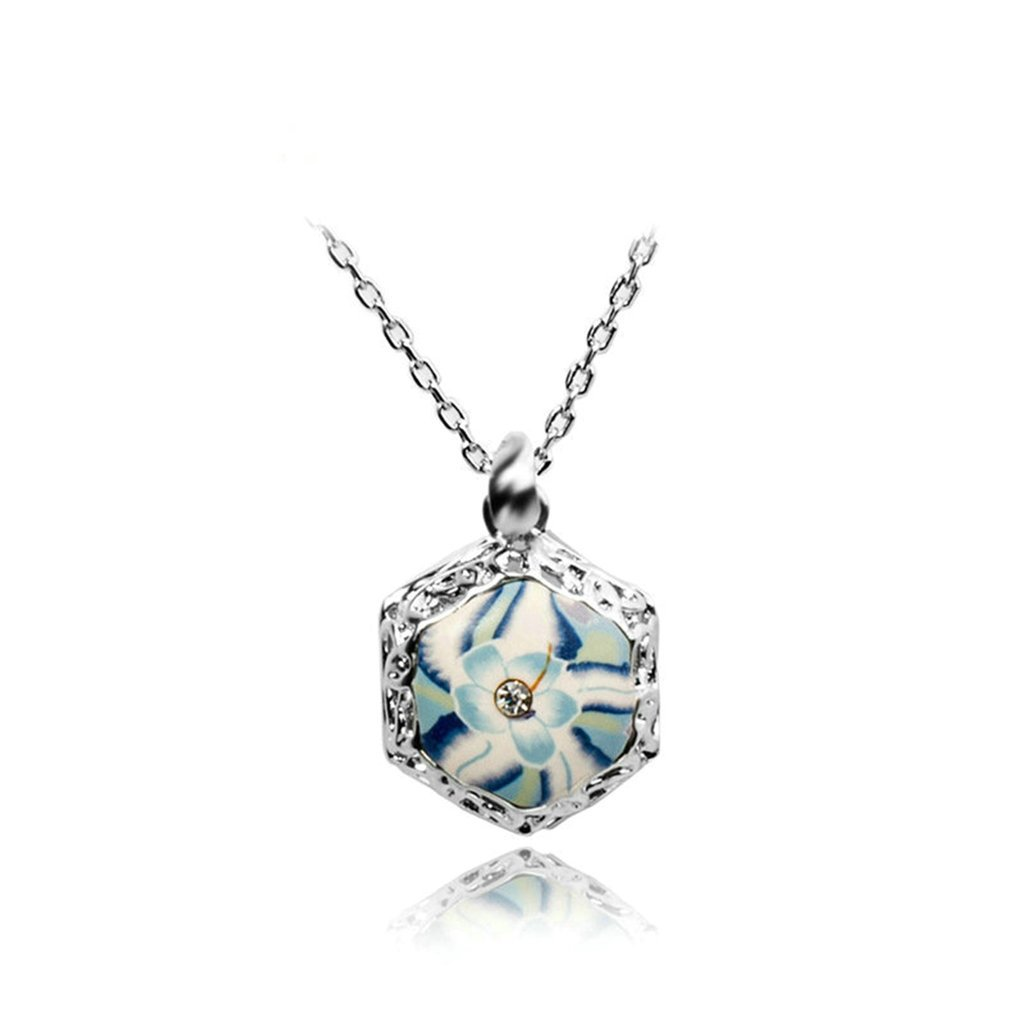Epinki Platinum Plated Womens Girls Pendant Necklace Flower Hexagon White Gold