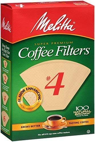 Melitta (63217C) #4 Super Premium Cone Coffee Filters, Natural Brown, 100 Count (Pack of 6) Replacement Coffee Maker Filters