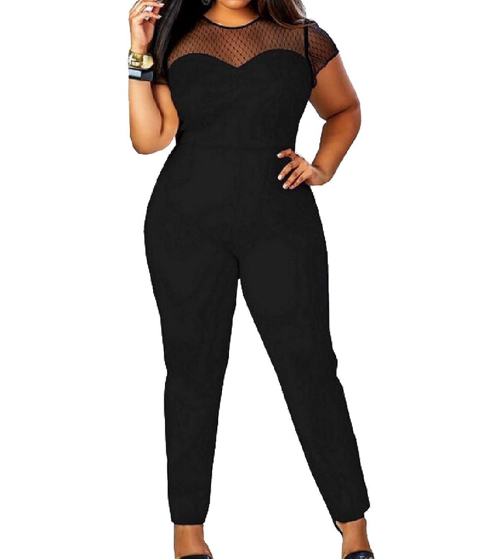 Abetteric Women Plus Size Mesh See Through Sexy Playsuit Jumpsuit Pant