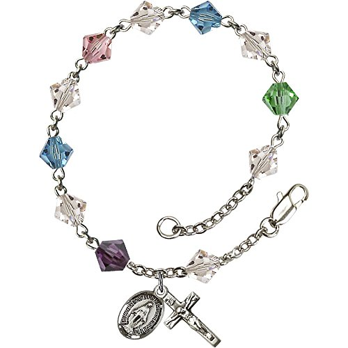 Bonyak Jewelry Sterling Silver Rosary Bracelet 6mm Multi-Color Swarovski Rundell beads Crucifix sz 7/8 x 3/8. (Bracelets Rosary Sterling Swarovski)