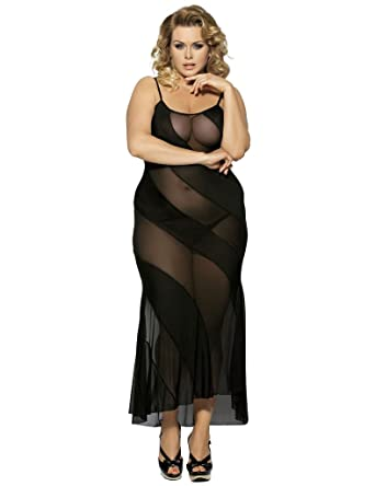 Ohyeahlady Womens Maxi Nightdress Plus Size Babydoll Dress See