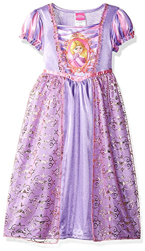 Disney Princess Rapunzel Girls Fantasy Gown Nightgown (6, Rapunzel Purple/Pink) (Tangled Rapunzel Dress)