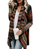 Shele Womens Speckled Fringe Cardigan Tassel Asymmetrical Hem Shawl Heap Collar Casual Sweater Poncho