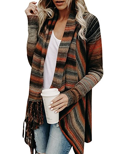 Sysea Womens Cardigan Sweaters Striped Tassels Long Sleeve Loose Knit Chunky Outwears, A Brown, X-Large