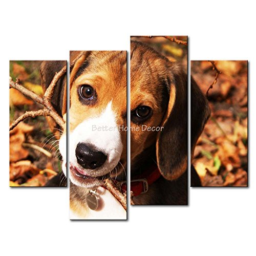 Branch Bites - Brown YEHO Art Gallery Painting Beagle Puppy Bite A Branch Print On Canvas The Picture Animal Pictures