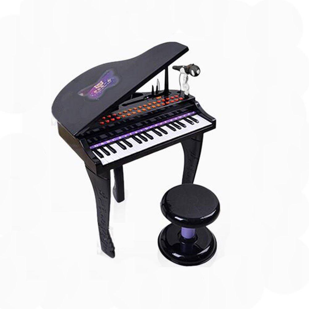 QXMEI Praktische Tastatur Für Kinder 37 Tasten Klaviertastatur Mit Mikrofon Aktuelle Ukulele (Rosa Schwarz,schwarz schwarz
