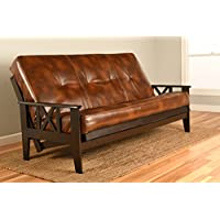Montreal X Espresso Futon Frame w/ Quality 8 Inch Innerspring Mattress Sofa Bed Set Full Size (Havana Leather Matt and Frame Only)