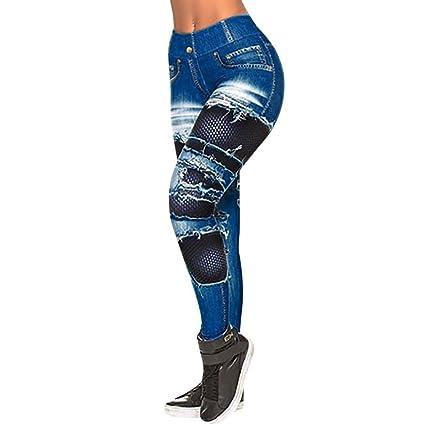 TWBB Pantalones Vaqueros con Estampado de Moda para Mujer ...