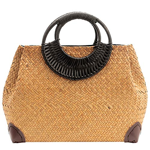 Natural Hand-Woven Straw Bag, Womens Summer Beach Boho Tote Bag Purse Vintage Round Handle Ring Large Casual Handbag