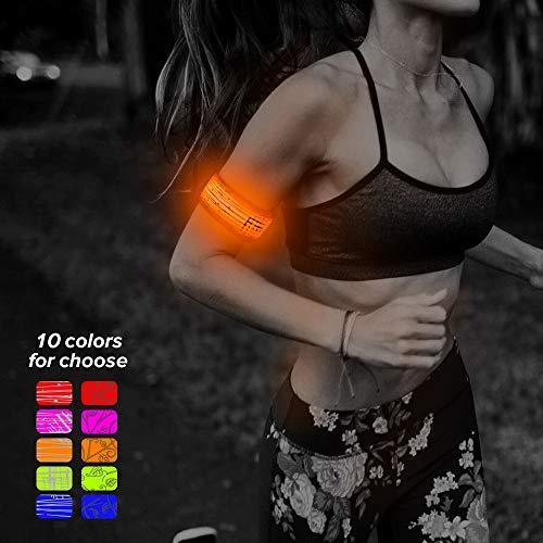 Higo LED Slap Bracelet, Glow in The Dark Sports Wristbands, Light Up Armbands for Running, Jogging, Cycling, Hiking(Orange-Design Ⅲ)