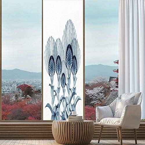 YOLIYANA Stained Glass Window Film,Xray Flower,for Bathroom Shower Door Heat Cotrol Anti UV,Image of Exotic Plants Close Vision,24''x78''