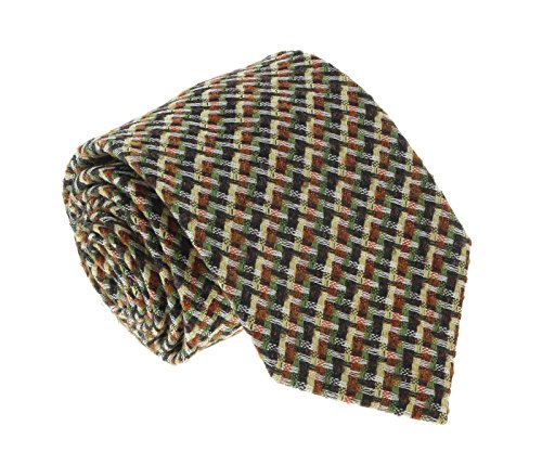 Missoni U5089 Green/Yellow Basketweave 100% Silk Tie for mens ()