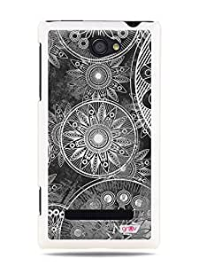 GRÜV Premium Case - 'Abstract Sketch Mandala Drawings' Design - Best Quality Designer Print on White Hard Cover - for HTC Windows Phone 8S