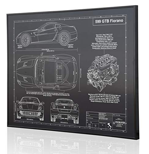 (Ferrari 599 GTB Fiorano Blueprint Artwork-Laser Marked & Personalized-The Perfect Ferrari Gifts)
