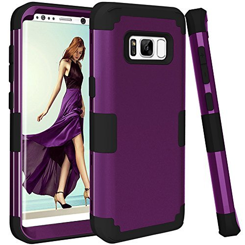 Rubberized Purple Rhinestones (KAMII SWEET-155 3-in-1 Shockproof, Drop-Protection, Hard PC, Soft Silicone Combo Hybrid Impact Defender Heavy Duty Full-Body Protective Case Cover for Samsung Galaxy S8 Plus - Purple/Black)