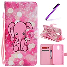 Motorola Moto G4 Play (2016) Case, LEECOCO Fancy Paint Design Wallet Case with Card Slots Shocoproof Colorful Floral PU Leather Flip Stand Magnetic Case Cover for Moto G Play 4th,Pink Elephant
