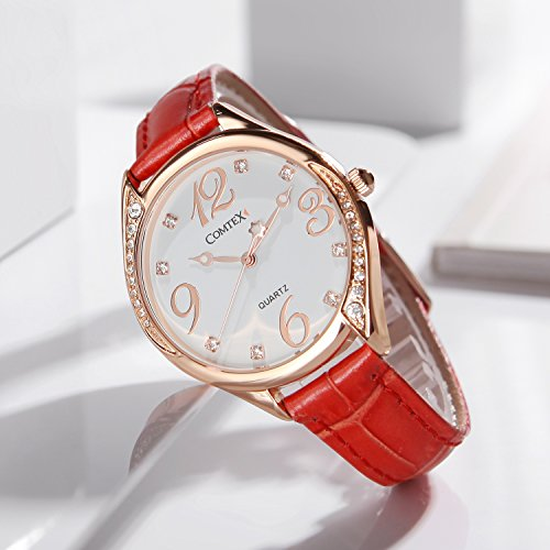 5890539bd Comtex Womens Watches Red Leather Strap with Rose Gold Case Fashion Watches  for Ladies