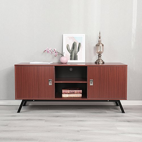 Dland TV Stand 59'', Composite Wood Board, 2-Shelf & 2-Cube & 2-Door Entertainment Center Console Storage Cabinet for Living Room Bedroom, WK-GZ003-RM Red-Maple, 1 Pack by Dland (Image #2)