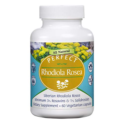 Perfect Rhodiola Rosea, for Better Focus, Energy, and Stress Relief, Optimal 3% Rosavins to 1% Salidroside Ratio, a Natural Adaptogen ~60 Vegetable Capsules