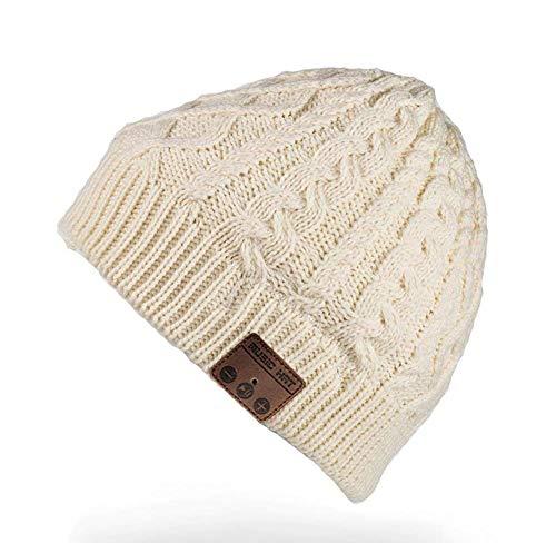 RQN Bluetooth Music Soft Hat Warm Velvet Beanie with Stereo Headphone Speaker Wireless Mic Hands-Free for Men Women Winter Outdoor Sports Running Skiing Christmas Birthday Gift (Twist-White-Velvet)