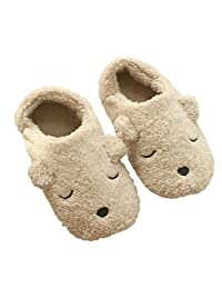 Jian Ya Na Womens Fleece Slippers,Indoor Cute Cartoon Winter Soft Warm Cozy Booties Non-Slip Plush Mules Home Bedroom Slip-on Shoes Ankle Boots for Girls Ladies